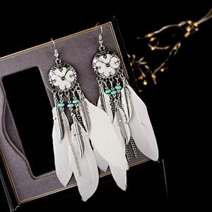 White Feather Native American Style Earrings